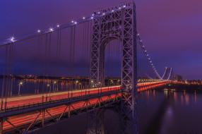 george washington bridge, города, - мосты, ночь, огни