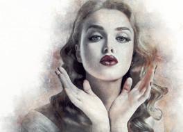 девушка, лицо, арт, губы, портрет, руки