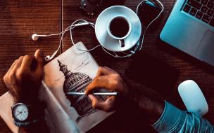 часы, наушники, рисунок, художник, кофе