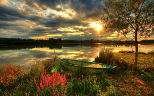 лодка, деревья, берег, Закат, река