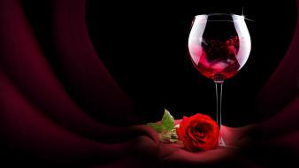 вино, роза, бокал