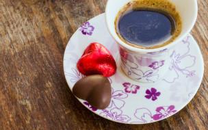 сердечки, конфеты, кофе