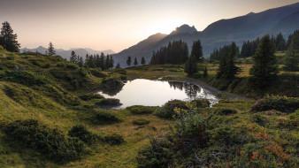 горы, озеро, долина