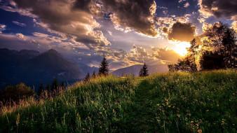 облака, горы, луг