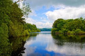 лето, река, отражение