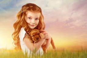 девочка, животное, ребёнок, собака, щенок