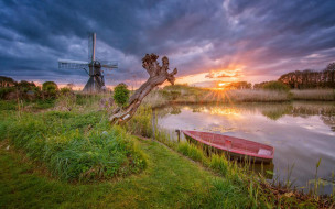 мельница, лодка, озеро, закат, Нидерланды