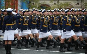 праздничные, день победы, 9, мая, день, победы, красная, площадь, марш, праздник, курсанты, девушки, парад