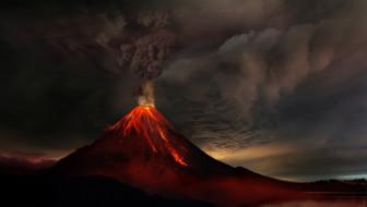 извержение вулкана, лава, вулкан, дым, гора