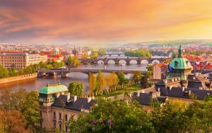Прага, река, небо, осень, город, мосты, дома, деревья, солнце, Чехия