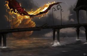 ситуация, арт, мост, manon bargier, дракон, огонь