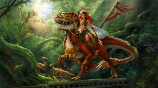 девушка, взгляд, фон, дракон