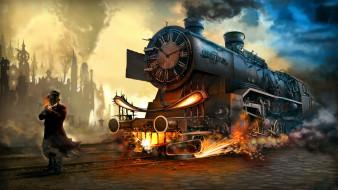 мужчина, фон, путь, поезд