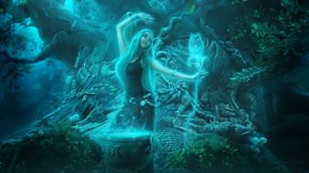 ведьма, девушка, арт, магия