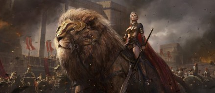sovereign, giant lion, blades, conquerors, army, ken, men, weapons, swords, shield, spears, lion, power