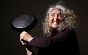 взгляд, женщина, сковорода
