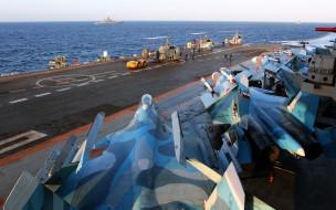 Тяжёлый, крейсер, Адмирал Кузнецов, истребитель, Ка-29, авианесущий, море, Су-33