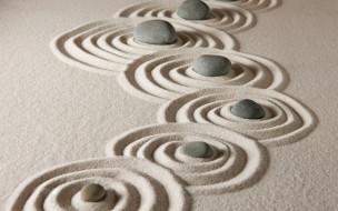 песок, zen, sand, stone, камни