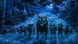матерый, хищники, нашествие, синее пламя, Снежные волки, вожак, город, снег, ночь, полнолуние, страх, горящие глаза, стая волков