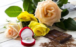шоколад, roses, кольцо, розы, chocolate, сладкое, ring