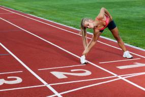 спорт, гимнастика, разминка, стадион, девушка