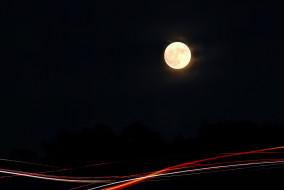 луна, ночь, огни