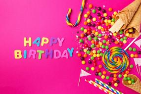 день рождение, сладости, надпись, праздник