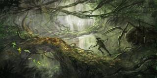 джунгли, ветки, чудовище, монстр, птицы, воин