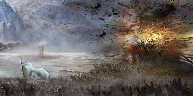 скалы, взрыв, войско, всадники, фигура