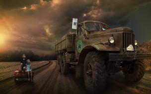 юмор и приколы, грузовик, дорога, дети