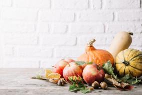 тыква, яблоко, плоды, листья, осень
