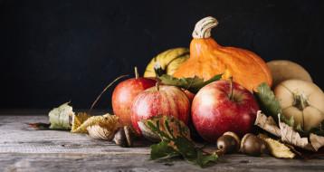 листья, осень, яблоко, плоды, тыква