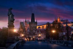 огни, вечер, Прага, мост, Чехия, город