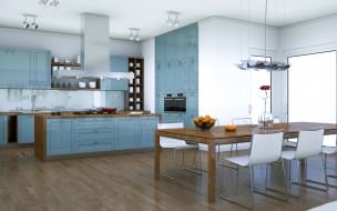 интерьер, кухня, стильная, в, серых, тонах