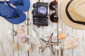 фотоаппарат, аксессуары, лето, море, ракушка, очки, сланцы