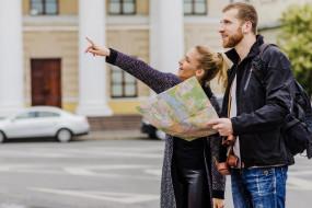 карта, город, девушка, парень