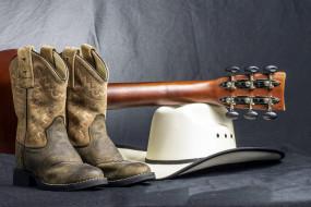 шляпа, гитара, ковбойские, сапоги