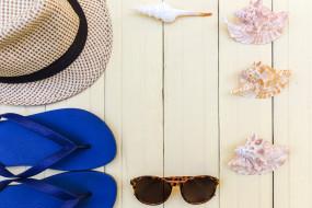 шляпа, море, очки, лето, сланцы