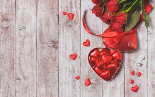 праздничные, день святого валентина,  сердечки,  любовь, красные, розы, valentine`s, day, love, шоколад, roses, romantic, gift, сердечки, конфеты, heart, red