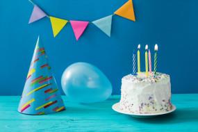 свечи, праздник, день рождение, шары, торт