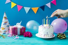 праздничные, день рождения, свечи, шары, день, рождение, праздник, торт