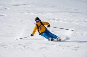 снег, мужчина, лыжи