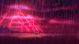 дождь, гроза, молния, олень