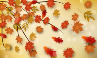 ветка, листья, фон, осень