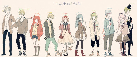 аниме, happy tree friends, персонажи