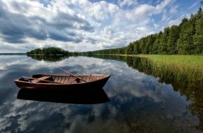 деревья, природа, пейзаж, Река, лодка