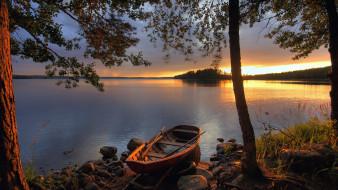 деревья, Финляндия, Закат, озеро, лодка