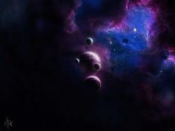 космос, арт, by, tira-owl, туманность, планеты