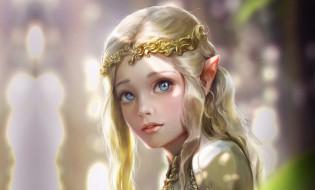 эльф, эльфийка, девушка, фэнтези, принцесса, арт, Bluish Salt, Elven princess