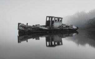 Вечер, лодка, озеро, туман